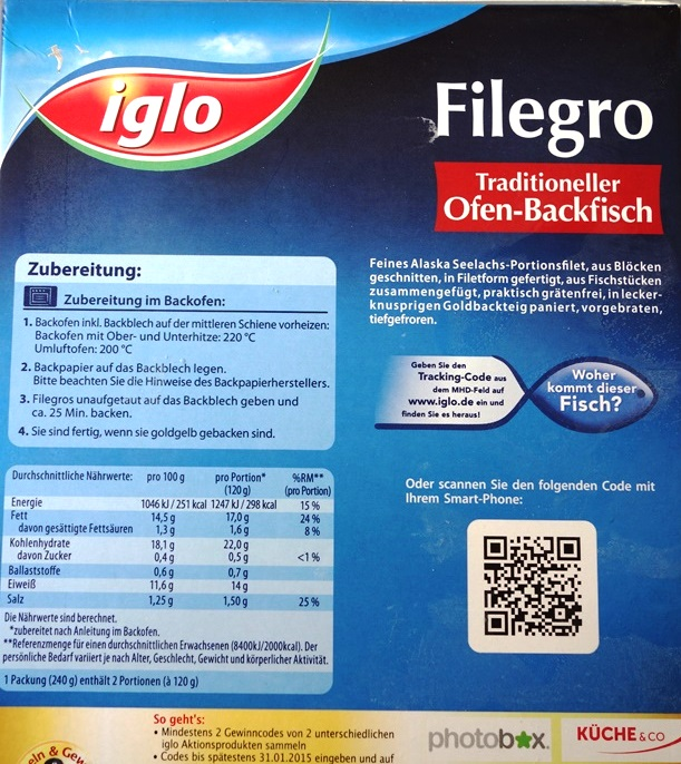 Iglo Verpackung