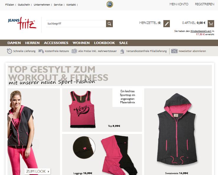 Jeans Fritz Onlineshop