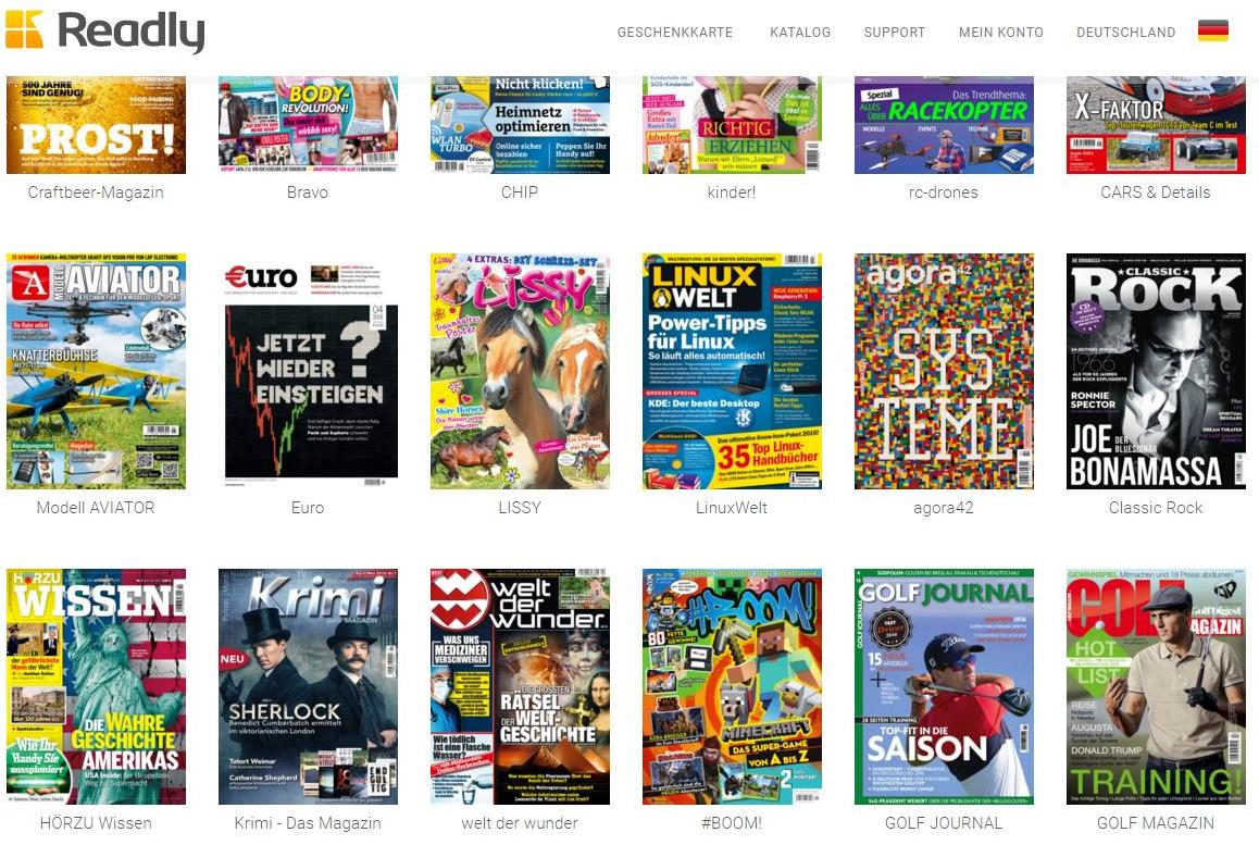 die zeitschriften flatrate von readly mehr als magazine im abo lesen testgiraffe de. Black Bedroom Furniture Sets. Home Design Ideas