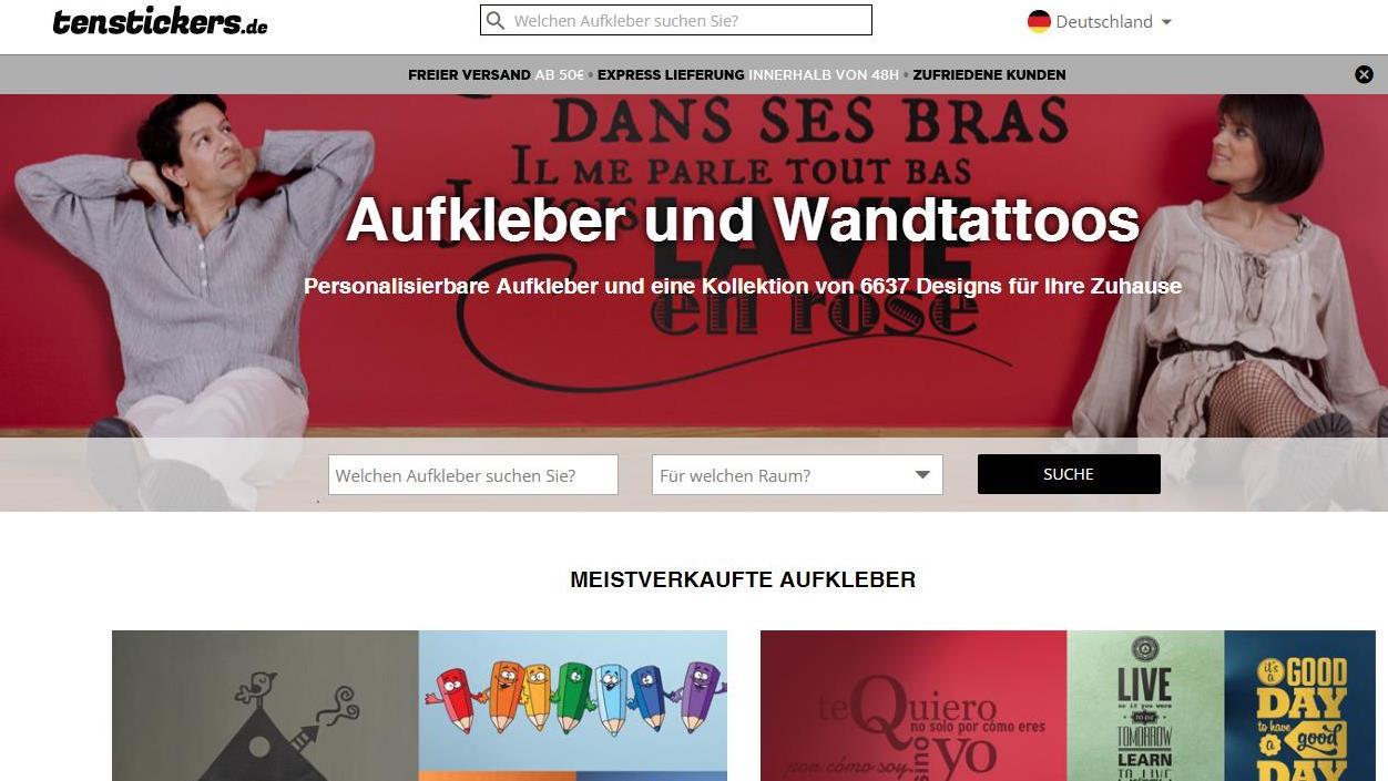 shopvorstellung tenstickers aufkleber und wandtattoos online bestellen testgiraffe de. Black Bedroom Furniture Sets. Home Design Ideas